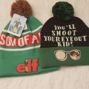 2 Knit Beanie Hats Elf & Home Alone